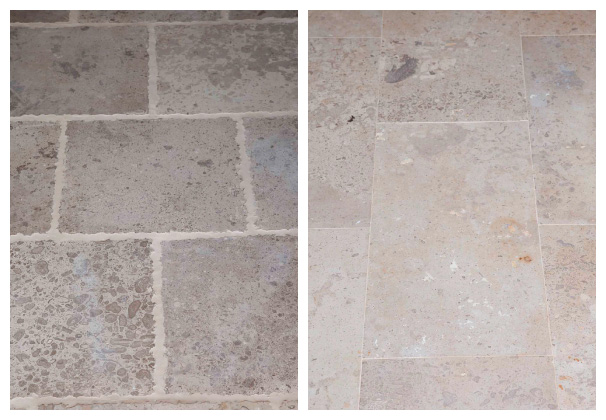 Travertine tiles in their natural forms of tints and textures.